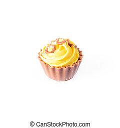 amarillo, cupcake, blanco, fondo., torta de chocolate