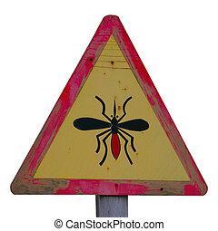 amarillo, de madera, mosquito, señal