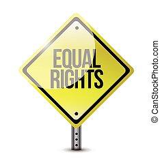 amarillo, derechos, igual, ilustración, señales