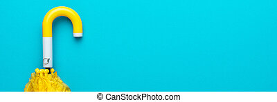 amarillo, doblado, azul, paraguas, plano de fondo, turquesa