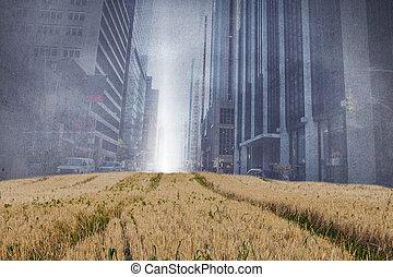 amarillo, encima, proyección, cityscape, campos