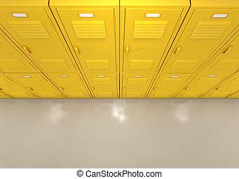 amarillo, escuela, armarios