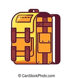 amarillo, excursionismo, mochila, icono