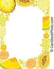 amarillo, fruits, y, bayas, marco