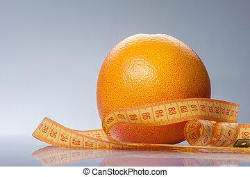 amarillo, fruta cítrica, con, tape-line, para, su, salud