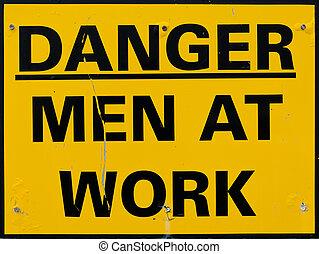 amarillo, hombres en la muestra del trabajo