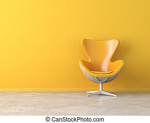 amarillo, interior, espacio de copia