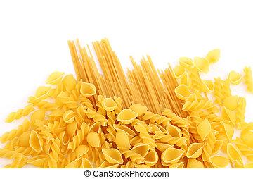 amarillo, italiano, pastas, en, diferente, formas