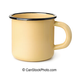 amarillo, jarra, esmalte, café