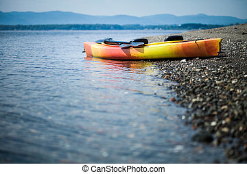 amarillo, kayac, orilla, remos, mar, naranja