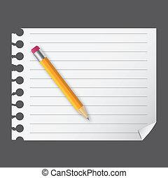 amarillo, lápiz de madera, en, un, blanco, bloc, vector,...