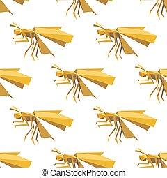 amarillo, libélula, seamless, patrón, en, origami, estilo