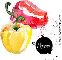 amarillo, mano, acuarela, dibujado, peppers., pintura, rojo