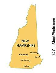 amarillo, mapa, de, new hampshire, con, indicación, de, más grande, ciudades