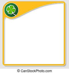 amarillo, marco, para, texto, con, hoja de trébol