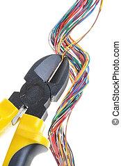 amarillo, metal, pinzas, cable