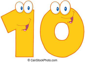 amarillo, número, diez