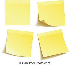 amarillo, nota de palo, aislado, blanco
