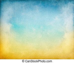 amarillo, nubes, azul