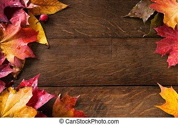 amarillo, otoño sale, fondo, viejo, madera