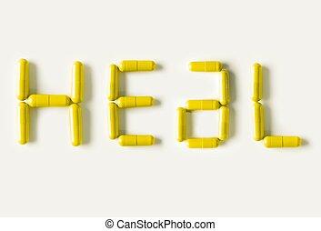 amarillo, píldoras, cápsulas, en forma, de, palabra, heal., vida, concepto, isolated.