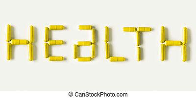 amarillo, píldoras, cápsulas, en forma, de, palabra, health., vida, concepto, isolated.