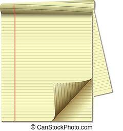 amarillo, papel, almohadilla, legal, esquina, página