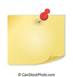 amarillo, papel, con, alfiler, blanco, plano de fondo,...