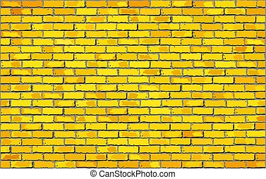 amarillo, pared, ladrillo