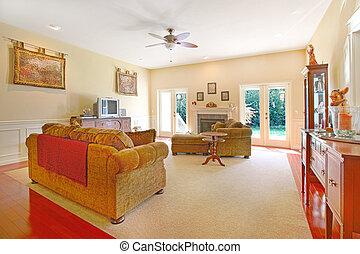 amarillo, sala, con, agradable, muebles