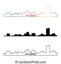 Amarillo skyline linear style with rainbow in editable...