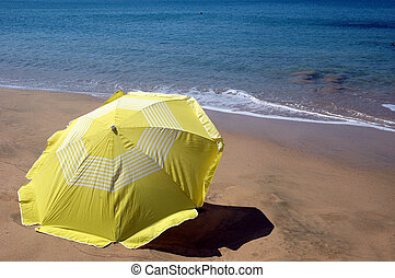 amarillo, sombrero de playa