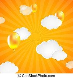 amarillo, sunburst, plano de fondo, con, nubes, y, globos