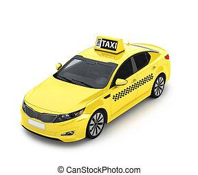 amarillo, taxis., ilustración, 3d