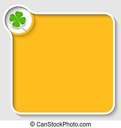 amarillo, texto, marco, y, hoja de trébol