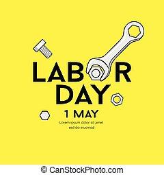 amarillo, trabajo, vector, diseño, llave inglesa, plano de fondo, mensaje, día, feliz