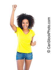 amarillo, tshirt, caliente, niña, bastante, tela vaquera,...