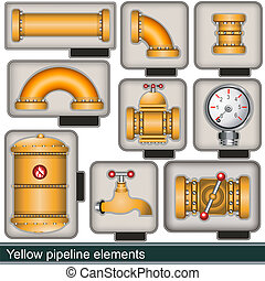 amarillo, tubería, elementos