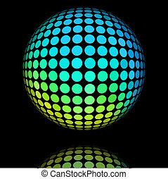 amarillo, y, cian, círculo, textured, ball.