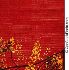 amarillo y negro, blosson, en, fondo rojo