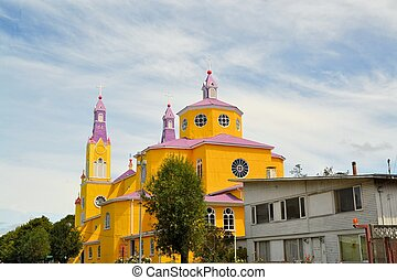 amarillo, y, púrpura, iglesia, de, castro, chiloe, chile