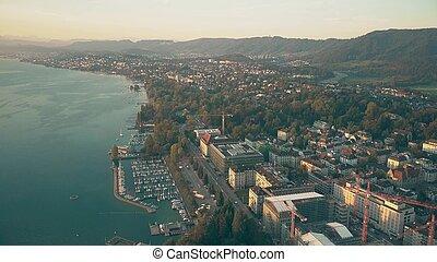 amarré, aérien, zurich, rivage lac, zurichsee, voiliers, suisse, ou, vue