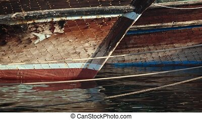 amarré, bateaux, port de pêche, dubai, vieux