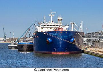 amarré, pétrolier, port