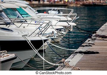 amarré, quai, blanc, yachts, vue