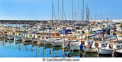 amarré, voile, seawall., blanes, bateaux moteur, espagne