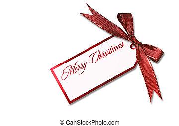 amarrada, arco, tag, penduradas, feriado, natal, vermelho