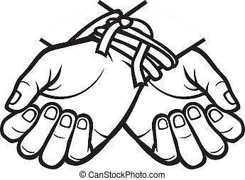 amarrada, mãos