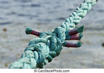 amarrada, um, forte, knot.