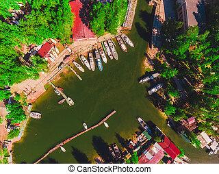 amarrado, aéreo, iates, estação, lagoa, barcos, bote, vista